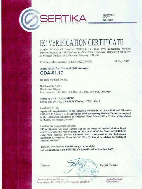 Certyfikat medyczny na Halogenerator