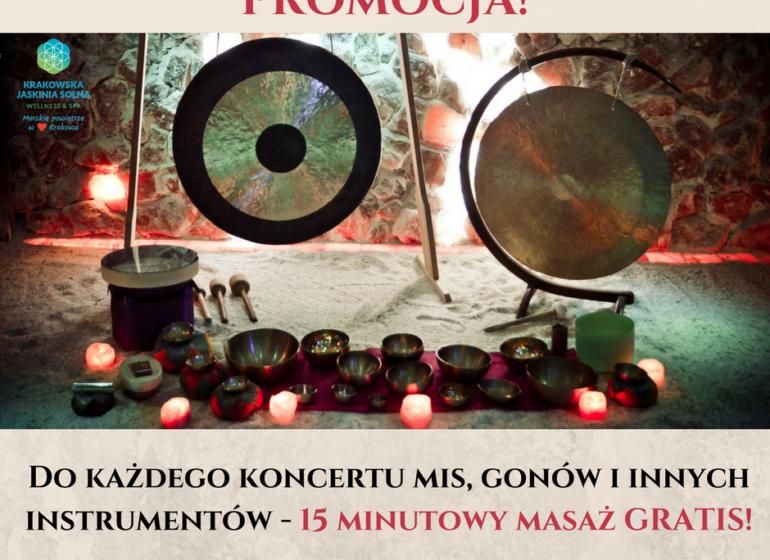 koncerty mis, gongów i innych instrumentów - masaż gratis
